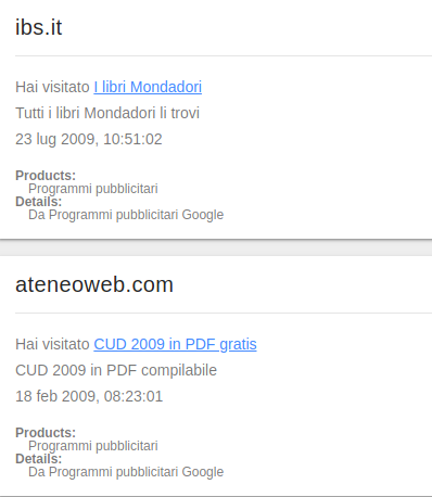dati google pubblicità